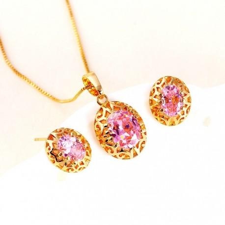 kristályos ékszerszett Rózsaszín cirkónia köves elegáns