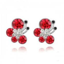 kristályos ékszerszett Piros kristályos pillangós ékszerszett