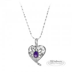 ezüst nyaklánc 925 ezüst, lila cirkónia köves szív medál