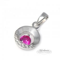 ezüst nyaklánc 925 ezüst, rózsaszín cirkónia köves kör medál