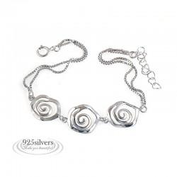 ezüst karkötő 925 ezüst, rózsa mintás karkötő