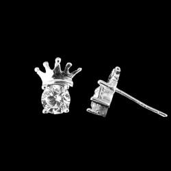 Korona alakú ezüst fülbevaló