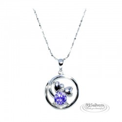 ezüst nyaklánc 925 ezüst, lila cirkónia szívek kör medál