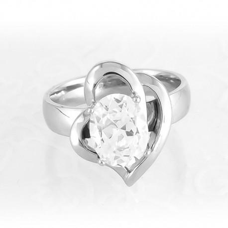 nemesacél gyűrű Fehér cirkónia köves, szív alakú nemesacél gyűrű