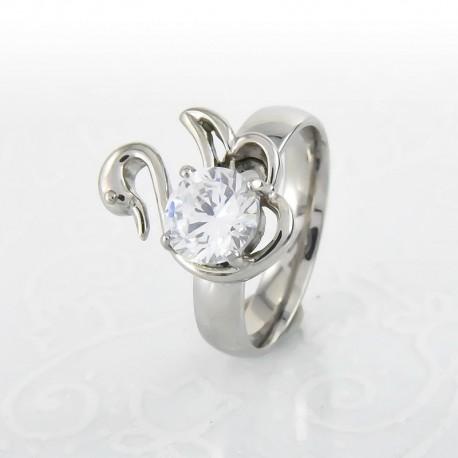 nemesacél gyűrű Fehér cirkónia köves, hattyú alakú nemesacél