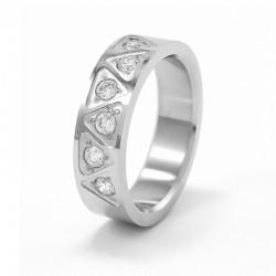 Fehér cirkónia köves nemesacél gyűrű, háromszög mintával