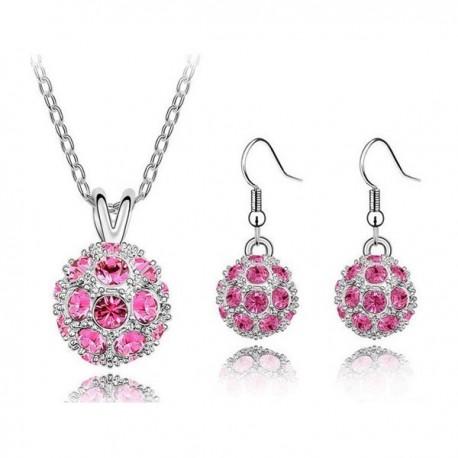 kristályos ékszerszett Rózsaszín köves shamballa ékszerszett