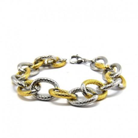 nemesacél karkötő Arany-ezüst színű, vastag láncszemes