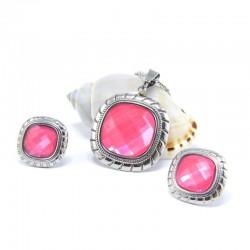 ékszerszett Rózsaszín, négyzetes ékszerszett nemesacélból