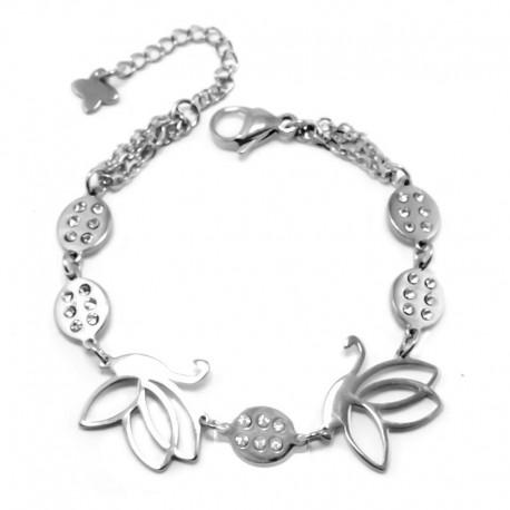 nemesacél karkötő Nemesacél karkötő pillangókkal és csillogó