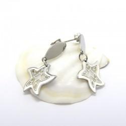 nemesacél fülbevaló Csillag alakú, mintás nemesacél fülbevaló