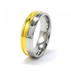 Arany-ezüst színű, bordás nemesacél gyűrű