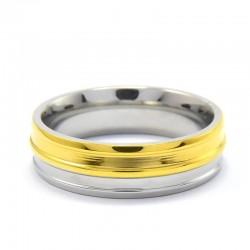 nemesacél gyűrű Arany-ezüst színű, bordás nemesacél gyűrű