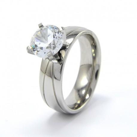 nemesacél gyűrű Nemesacél gyűrű, csillogó fehér cirkónia kővel